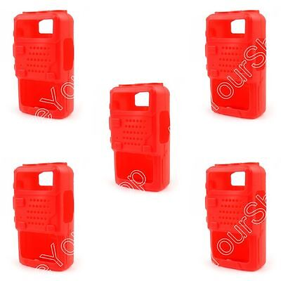 5x Rubber Soft Handheld Case Holster For BaoFeng UV-5R/5RA/5RE Plus Radio Red B1