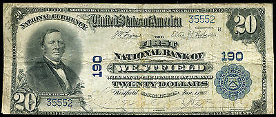 1902 $20 The First National Bank Of Westfield, Ma National Currency Ch. #190