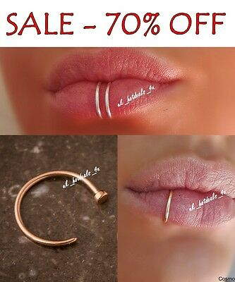 SALE -70% Surgical Steel Thin Silver Lip Nose Ring Hoop Cartilage Piercing Stud