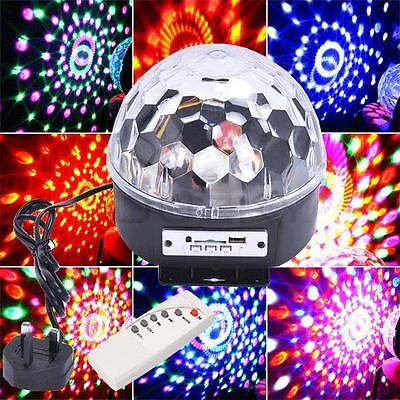 6 Colors Led Stage Lighting Crystal Magic Ball Party Disco Laser Light Uk