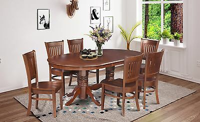 7 Piece Dinette Dining Room Table Set With Wooden Seat In Espresso Finish