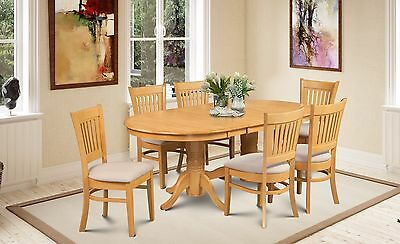 7 Piece Dinette Dining Room Table Set With Microfiber Upholstered In Oak Finish