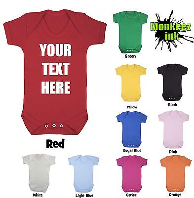 Personalised Baby Grow Your Text Boy Girl Babies Clothes Gift Cool Present
