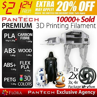 PanTech 3D Printing Filament PLA ABS WOOD Carbon Fibre Aussie Printer 1KG 1.75m