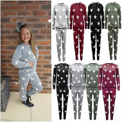 New Kids Girls Star Print Top Joggers Loungewear 2PCS Tracksuit Bottom 3-13Years