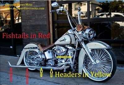 "Harley Fishtail ""CHOLO"" Softail Exhaust Pipes 36''"