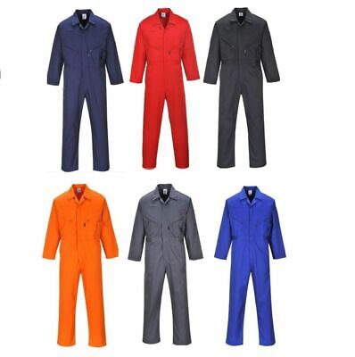 Zip Coveralls Mens Overalls Boilersuit Work Mechanic M-5XL, NEW Portwest C813