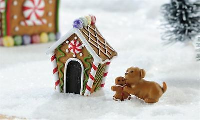 Fairy Garden Christmas Miniature - Gingerbread Lane Dog And Doghouse