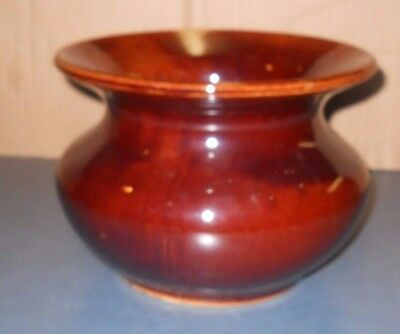 Vintage Old Antique Brown Clay Stoneware Art Pottery Spittoon Planter