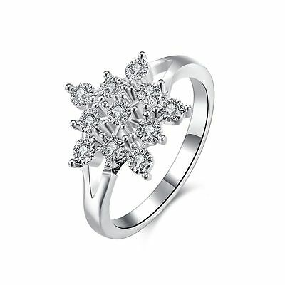 Ladies 925 Silver Plated Gemstone Flower Snowflake Band Engagement Ring Jewelry