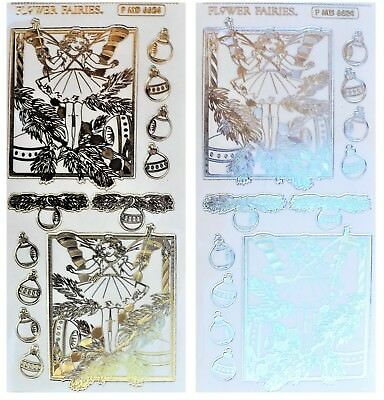 Flower Fairies CHRISTMAS TREE Embossed Peel Off Stickers Gold or Silver Clear