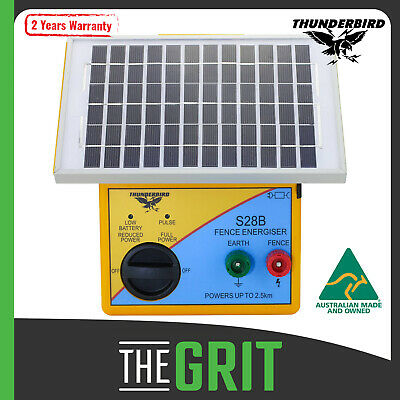 Thunderbird 2.5km SOLAR Power Electric Fence Energiser Unit S28B Mains Charger
