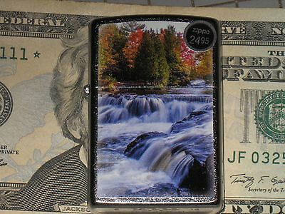 New Genuine Zippo Lighter Waterfalls Rapids River in the Fall Autumn Windproof