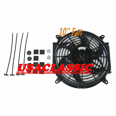 """New 10"""" inch 12V volt Push Pull Electric Cooling Fan Thermo Fan W/ Mounting kits"""
