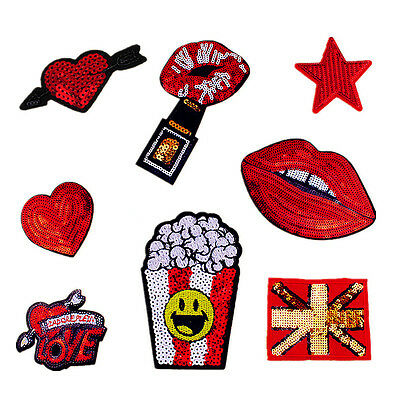 8pcs Red Lips Sequins Sew On Patch Badge Embroidered Cloth Fabric Applique DIY