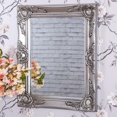 Silver Wall Mirror French Chic Rococo Style Ornate Baroque Hallway Bedroom Home