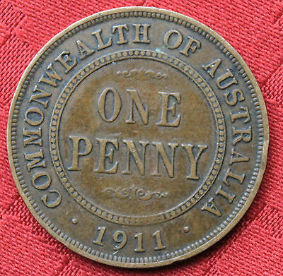 1911 KGV AUSTRALIAN PENNY Pre DecimalCoin - Circulated - GREAT INVESTMENT
