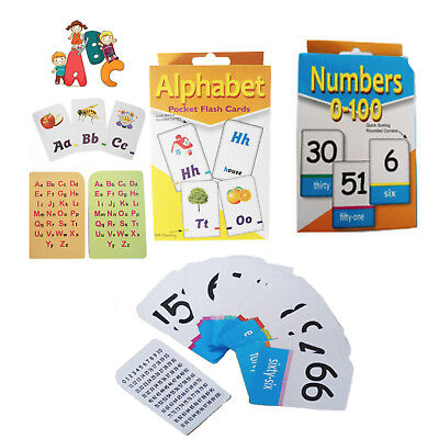 Flash Card NUMBER 0-100 Kids Flashcard ABC Cards Alphabet Read Count Educational