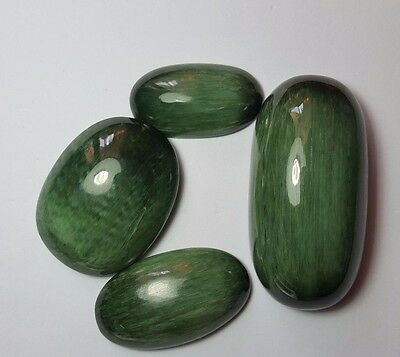 554 cts  4 pcs  Natural  Green  Nephrite Jade Cats Eye @Pakistan  wow !!!!