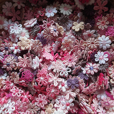 Mixed TINY PINK/PURLE 10-14mm Guipure Lace Daisy Motifs Sew On Flower Appliques
