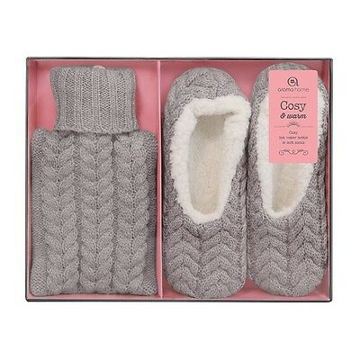 Aroma Home Gorgeous Ladies Grey Knitted Hot Water Bottle & Slippers Gift Set