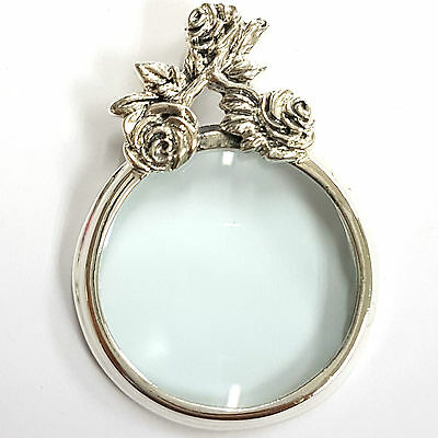 Art Nouveau Style Floral Rose Magnifying Glass Pendant 925 Sterling Silver