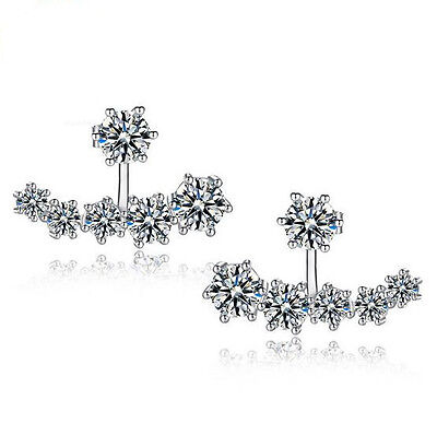 Women's 925 Sterling Silver Earrings Austria Crystal Ear Stud Fashion Jewelry