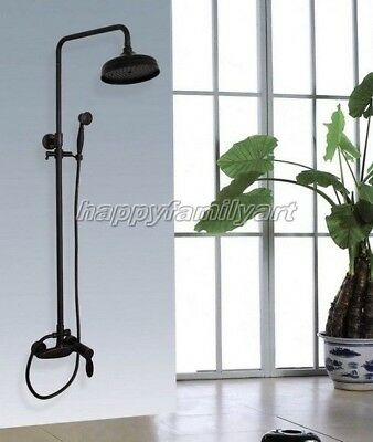 Black Oil Rubbed Brass Wall Mounted Bathroom Rainfall Shower Faucet Set Yhg049