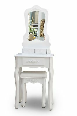 White Dressing Table Makeup Desk with Stool, 3 Drawers and Mirror Bedroom shabby