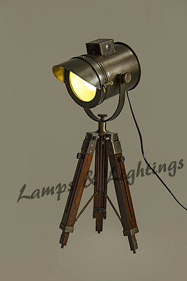 Vintage style Spotlight searchlight Telescopic Tripod Floor lamp