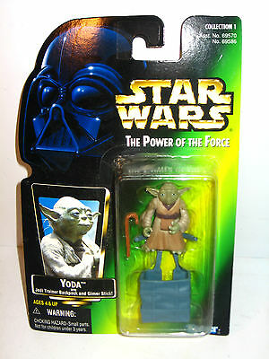 STAR WARS Power of the Force - Yoda m. Trainer Backpack Actionfigur KENNER (LR9)