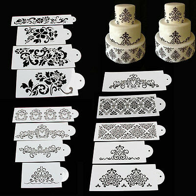 Lace Flower Cake Fondant Cookie Side Baking Stencil Wedding Decorating DIY Tools