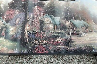 Thomas Kinkade - Romantic Village Cottage Scene -  Wallpaper Border C027