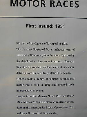 """*1D* Card Collectors Society REPRODUCTION Set   """"MOTOR RACES""""  1931"""