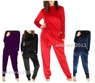 Girls Velour Lounge Wear 2Pc Jogging Top Tracksuit Set Age Size 2-13 Years