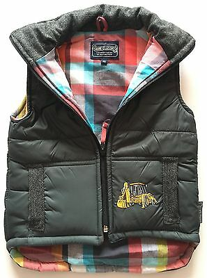Boy's Embroidered Digger Gilet - Charcoal with Tweed Patch/Trim - Shire Classics
