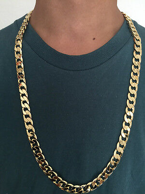 "28"" 12mm 18ct Gold Plated Curb Chain Necklace, Men's Christmas Birthday Gift"