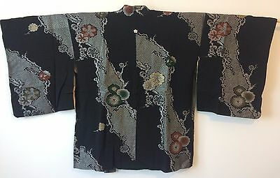 Silk authentic handmade Japanese black Haori jacket for Kimono, with himo (F310)