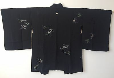Authentic handmade Japanese silk black Haori jacket for Kimono (F311)