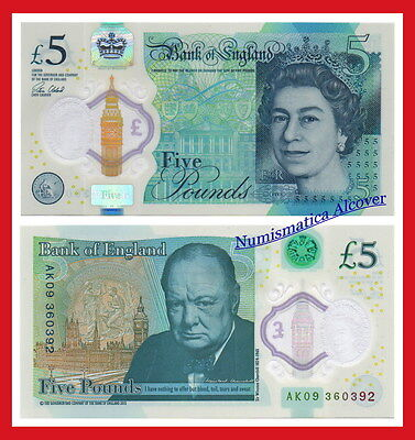 GREAT BRITAIN UK 5 Pounds libras Churchill 2015 (2016) Polymer Pick NEW SC  UNC