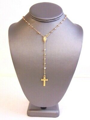 Jackie Collins Estate Cross Rosary Necklace Crystal Vintage Pendant Celebrity Fine