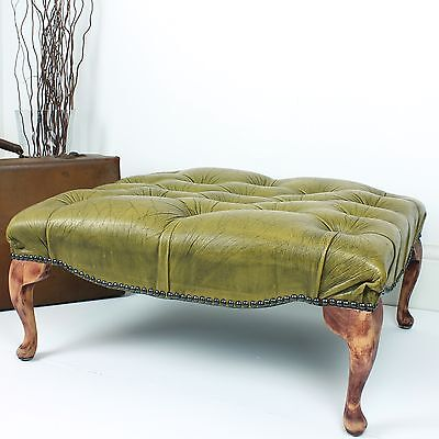 Antique Chesterfield Footstool Ottoman Buttoned Leather Pouffe British Green