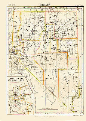 1876 Color Map of NEVADA - The Silver State - Inset of CARSON CITY vicinity