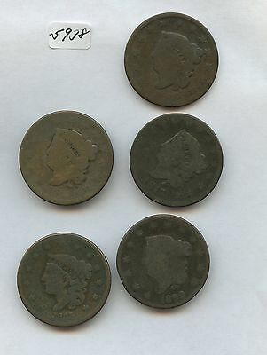 Five Large Cents (#5938) Decent AG Few with Light Problems. 1816, 1817, 1822, 18