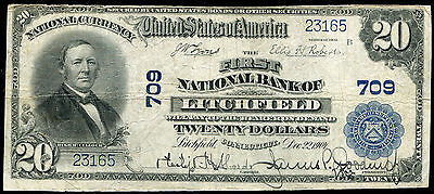 1902 $20 The First Nb Of Litchfield, Ct National Currency Ch. #709