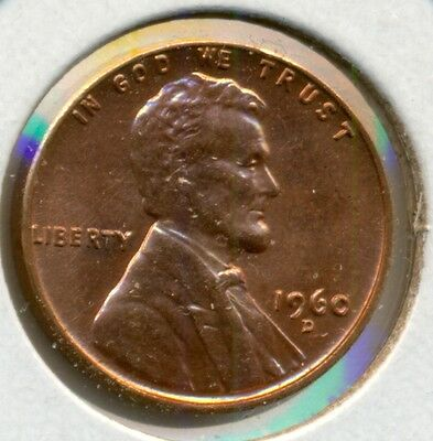 1960-D Small Date Lincoln Cent, Choice Bu Red, No Spots Or Smudges, Great Price!