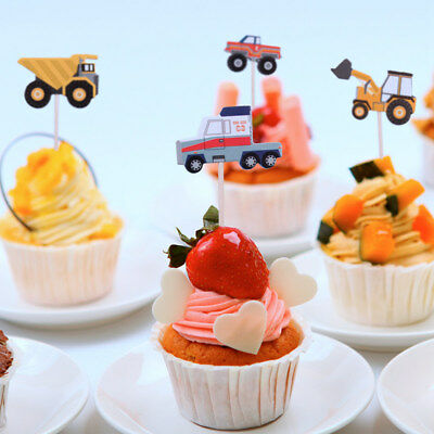 24pcs Cartoon Truck Cupcake Toppers Theme Picks Birthday Party Decor Baby Shower