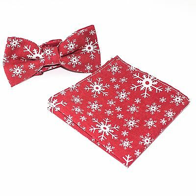 Mens Christmas Red Snowflakes Hanky & Bow Tie Pre Tied Formal Neckwear Set CH001