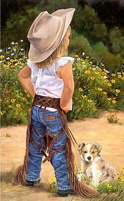 Boss Lady by June Dudley Puppy & LIl' Cowgirl Signed Canvas Giclee Print 22x15