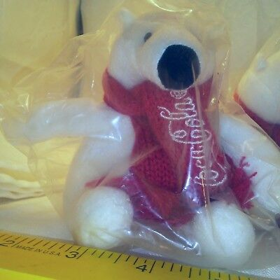 "5"" Stuffed Bear and Coca Cola Scarf 2013 White Lot L149 Batch 0812"